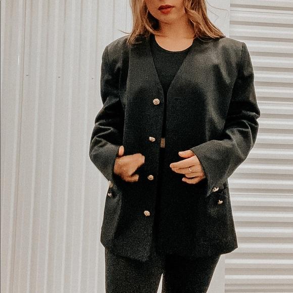 Vintage Christian Dior Black Cashmere Wool Jacket